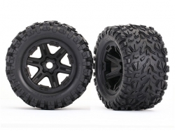 Traxxas 8672 Tires & wheels, assembled, glued (black wheel..