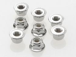 Traxxas 3647 Nuts, 4mm flanged nylon locking (steel, serrated) (8)
