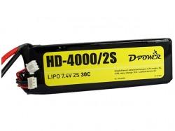 D-Power HD-4000 2S Lipo (7,4V) 30C - XT-60 Stecker