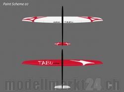RCRCM E-Tabu Spw. 2.976m CFK+ (Carbon) Weiss/Rot mit Schut..