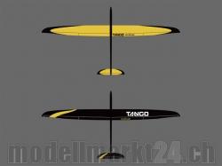 RCRCM E-Tango CFK+ (Carbon) Spw. 2.9m Schwarz/Gelb mit Sch..