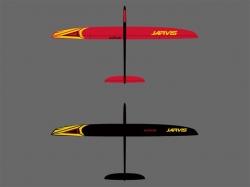 RCRCM E-Jarvis V-LW CFK+ 2.55m Rot/Schwarz mit Schutztasch..