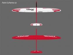 RCRCM Tomcat Evo 2.5m CFK Rot/Weiss mit Schutztaschen, RC ..