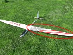 Ersatzflügel Links RCRCM E-Tomcat oder Tomcat CFK Weiss/Rot